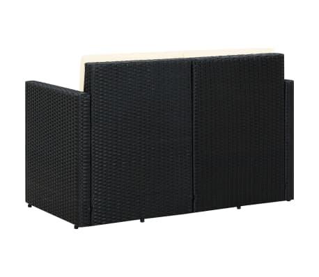 vidaXL 2 Seater Garden Sofa with Cushions Black Poly Rattan[4/4]