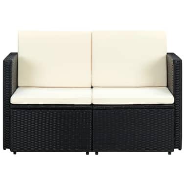 vidaXL 2 Seater Garden Sofa with Cushions Black Poly Rattan[2/4]