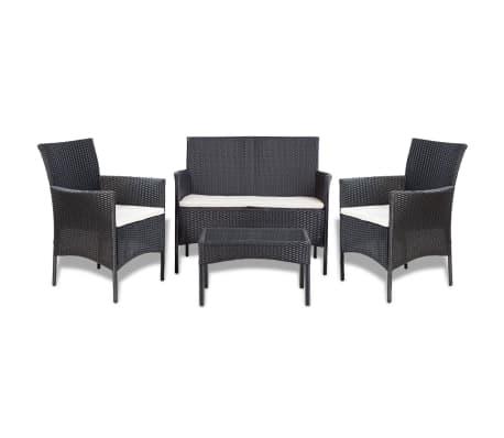 vidaXL Set de muebles de jardín 4 pzas y cojines ratán sintético negro-picture