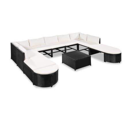 vidaXL Muebles de jardín y cojines 12 piezas ratán sintético negro