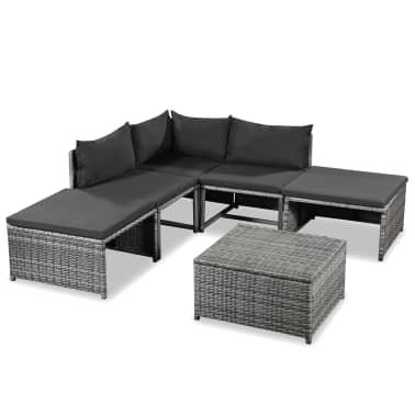 vidaXL 6 Piece Garden Lounge Set with Cushions Poly Rattan Gray[1/5]
