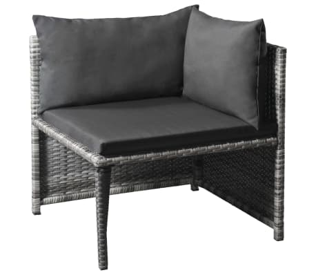 vidaXL 6 Piece Garden Lounge Set with Cushions Poly Rattan Gray[3/5]