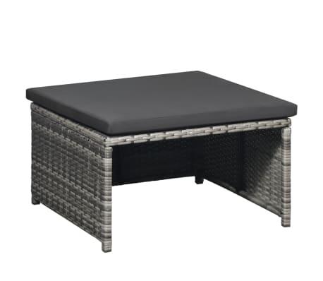 vidaXL 6 Piece Garden Lounge Set with Cushions Poly Rattan Gray[4/5]
