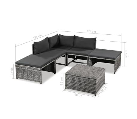 vidaXL 6 Piece Garden Lounge Set with Cushions Poly Rattan Gray[5/5]