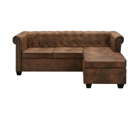 vidaxl chesterfield sofa in l form wildleder optik braun g nstig kaufen. Black Bedroom Furniture Sets. Home Design Ideas