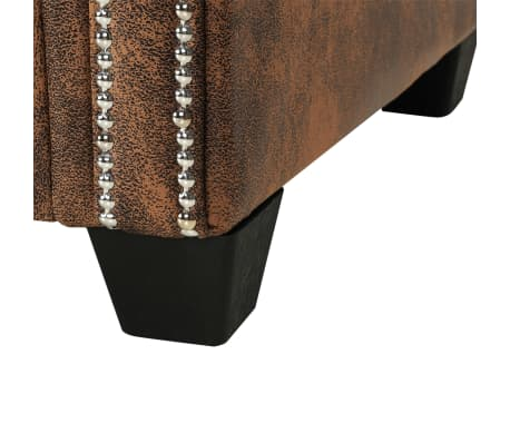 vidaXL Sofá Chesterfield en forma L de piel artificial de ante marrón[6/7]
