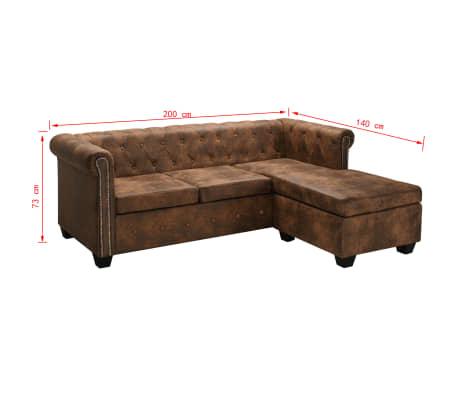 vidaxl chesterfield sofa in l form wildleder optik braun g nstig kaufen. Black Bedroom Furniture Sets. Home Design Ideas