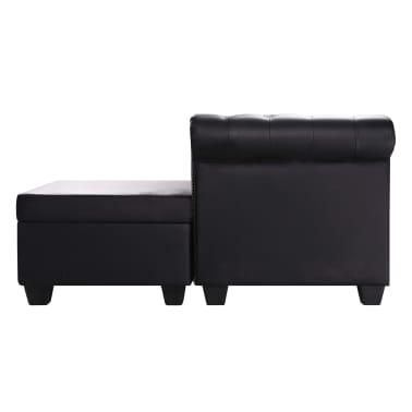 vidaXL L-formos Chesterfield sofa, dirbtinė oda, juoda[3/6]