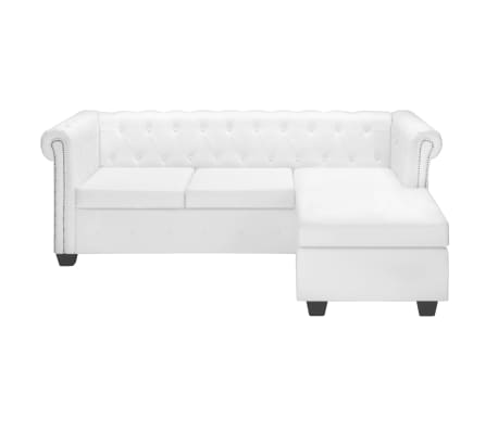 vidaxl chesterfield sofa l form kunstleder wei couch ecksofa wohnlandschaft ebay. Black Bedroom Furniture Sets. Home Design Ideas