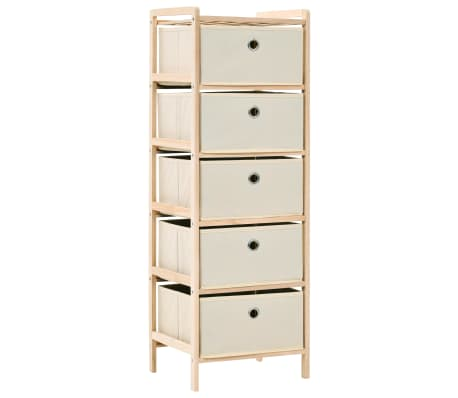 vidaXL Storage unit with 5 fabric baskets cedar wood beige