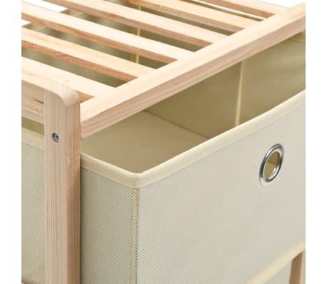 vidaXL Dulap depozitare cu 5 coșuri din textil, lemn de cedru, bej[5/6]