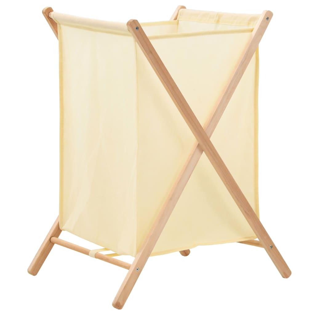 vidaXL Coș de rufe, bej, lemn cedru și material textil, 42x41x64 cm imagine vidaxl.ro