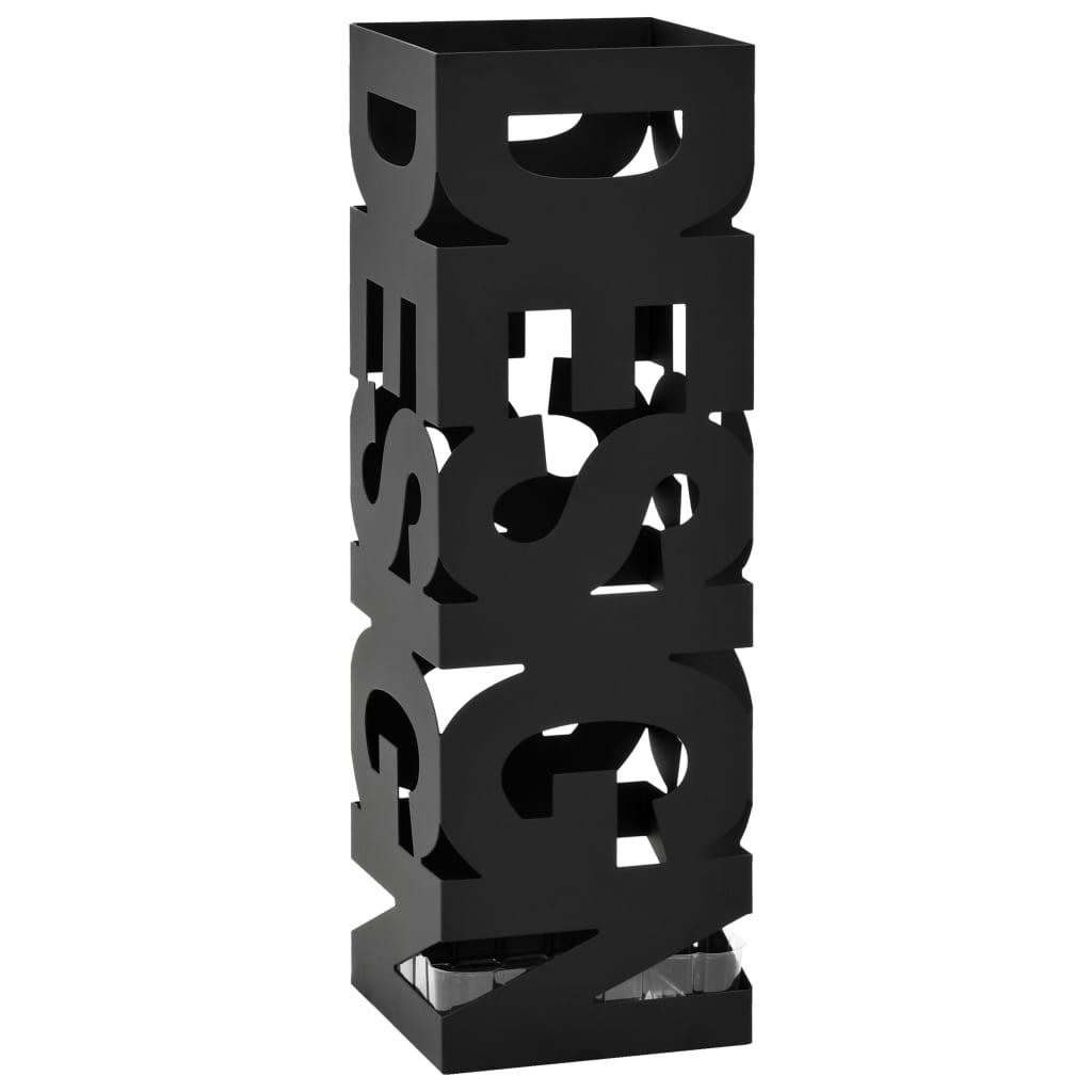vidaXL Ομπρελοθήκη με Σχέδιο Design Μαύρη Ατσάλινη