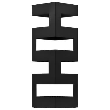 vidaXL Stojak na parasole, tetris , stalowy, czarny[2/5]