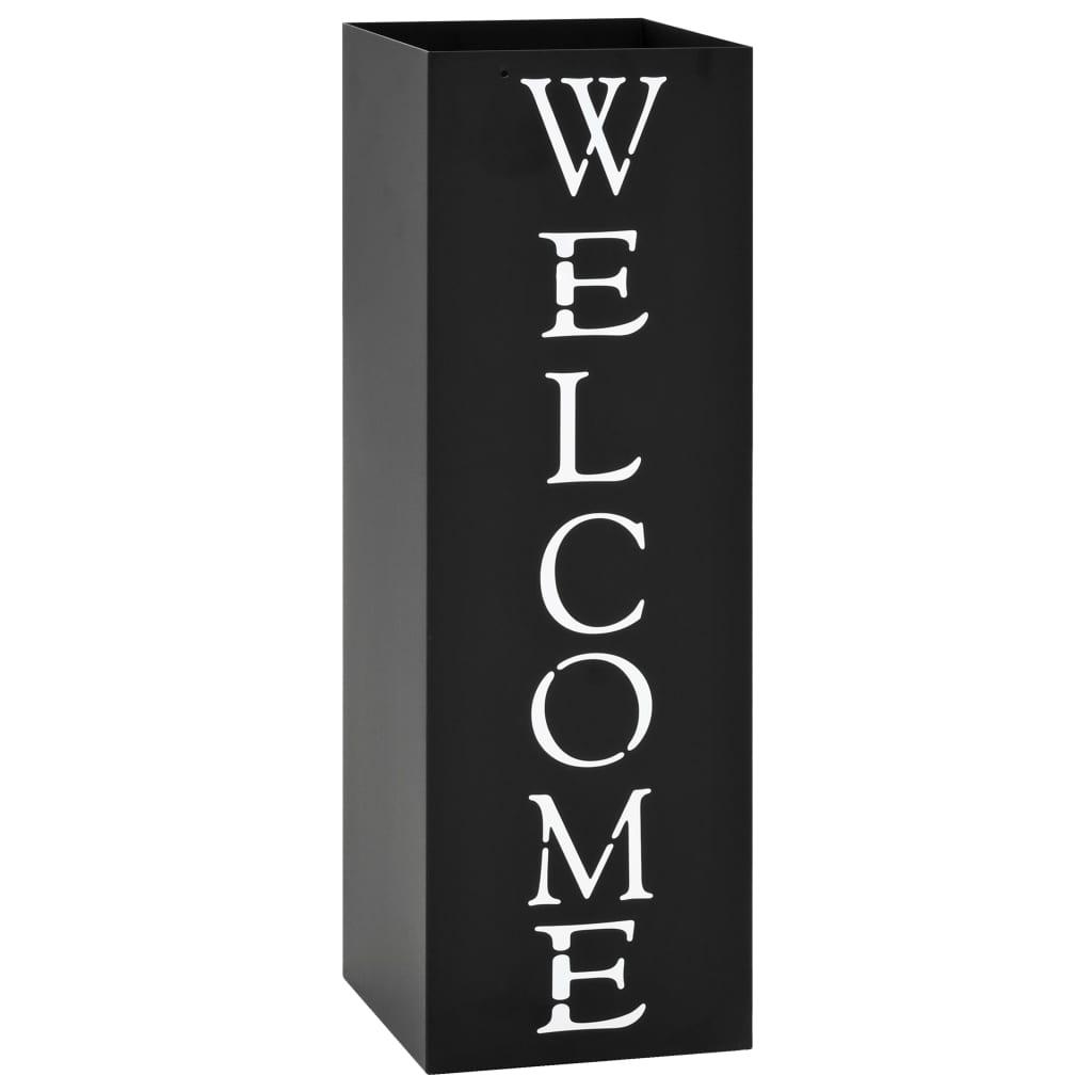 vidaXL Stojan na deštníky Welcome ocelový černý