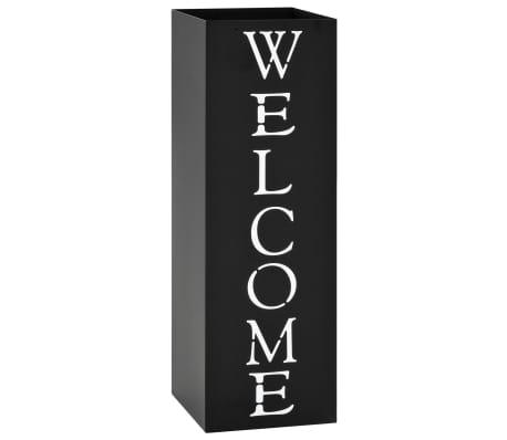 vidaXL Porte-parapluie Welcome Acier Noir