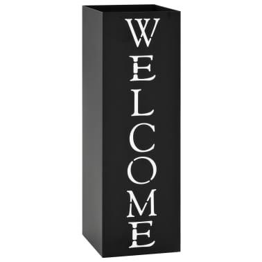 vidaXL Porte-parapluie Welcome Acier Noir[1/6]
