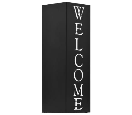 vidaXL Porte-parapluie Welcome Acier Noir[2/6]