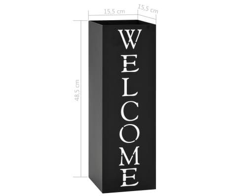 vidaXL Porte-parapluie Welcome Acier Noir[6/6]