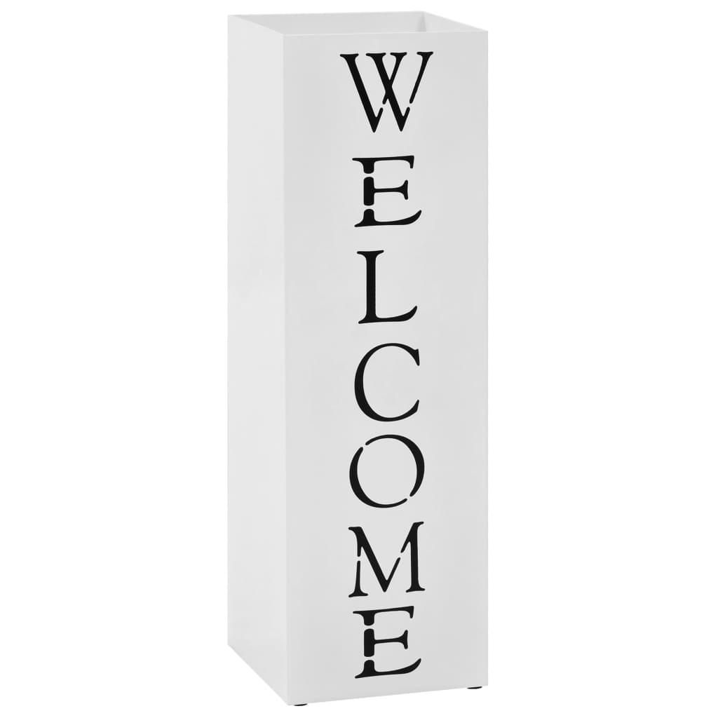 vidaXL Stojan na deštníky Welcome ocelový bílý