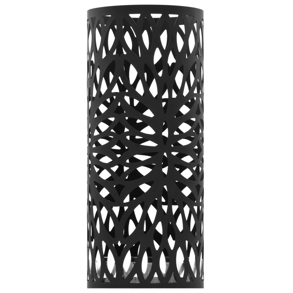 VidaXL Parapluhouder bladeren staal zwart