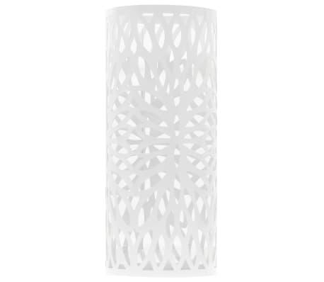 vidaXL Regenschirmständer Blattmotiv Stahl Weiß[2/5]