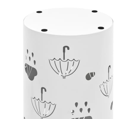 vidaXL Regenschirmständer Regenschirm-Motiv Stahl Weiß[5/6]