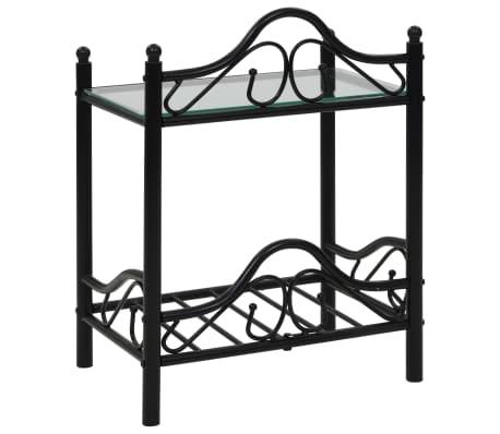vidaXL Nakt. staliukas, plien. ir grūd. stikl., 45x30,5x60cm, juodas[3/8]
