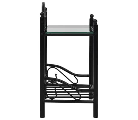 vidaXL Nakt. staliukas, plien. ir grūd. stikl., 45x30,5x60cm, juodas[4/8]