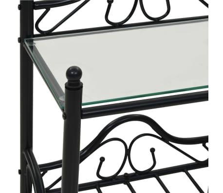 vidaXL Nakt. staliukas, plien. ir grūd. stikl., 45x30,5x60cm, juodas[6/8]