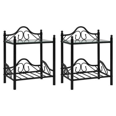 vidaXL Noptiere 2 buc, oțel și sticlă călită, 45 x 30,5 x 60 cm, negru[1/9]