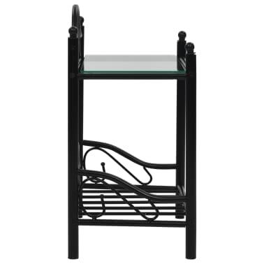 vidaXL Noptiere 2 buc, oțel și sticlă călită, 45 x 30,5 x 60 cm, negru[5/9]