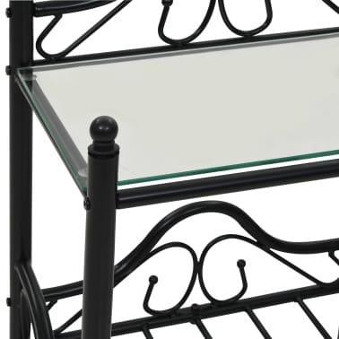 vidaXL Noptiere 2 buc, oțel și sticlă călită, 45 x 30,5 x 60 cm, negru[7/9]
