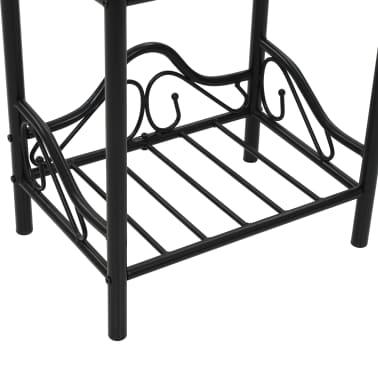 vidaXL Noptiere 2 buc, oțel și sticlă călită, 45 x 30,5 x 60 cm, negru[8/9]