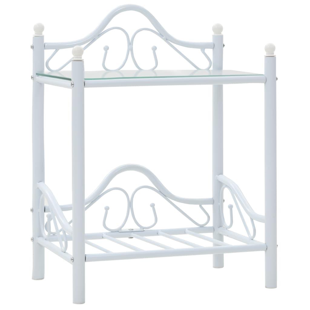 vidaXL Nattbord stål og herdet glass 45x30,5x60 cm hvit