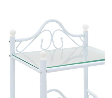 vidaXL Noptieră, oțel și sticlă securizată, 45 x 30,5 x 60 cm, alb[5/8]
