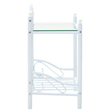 vidaXL Noptieră, oțel și sticlă securizată, 45 x 30,5 x 60 cm, alb[3/8]