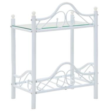 vidaXL Noptieră, oțel și sticlă securizată, 45 x 30,5 x 60 cm, alb[4/8]