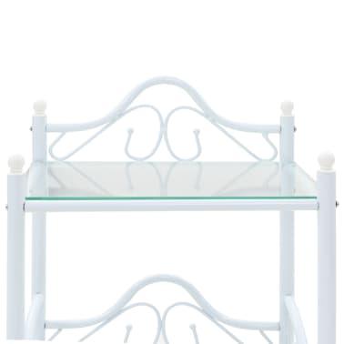 vidaXL Noptieră, oțel și sticlă securizată, 45 x 30,5 x 60 cm, alb[6/8]
