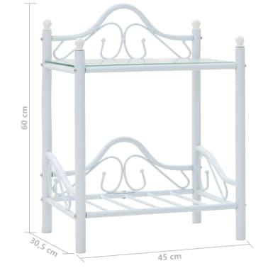 vidaXL Noptieră, oțel și sticlă securizată, 45 x 30,5 x 60 cm, alb[8/8]