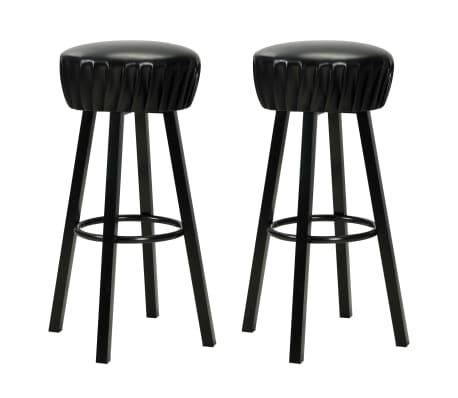 vidaXL Chaises de bar 2 pcs Noir Similicuir