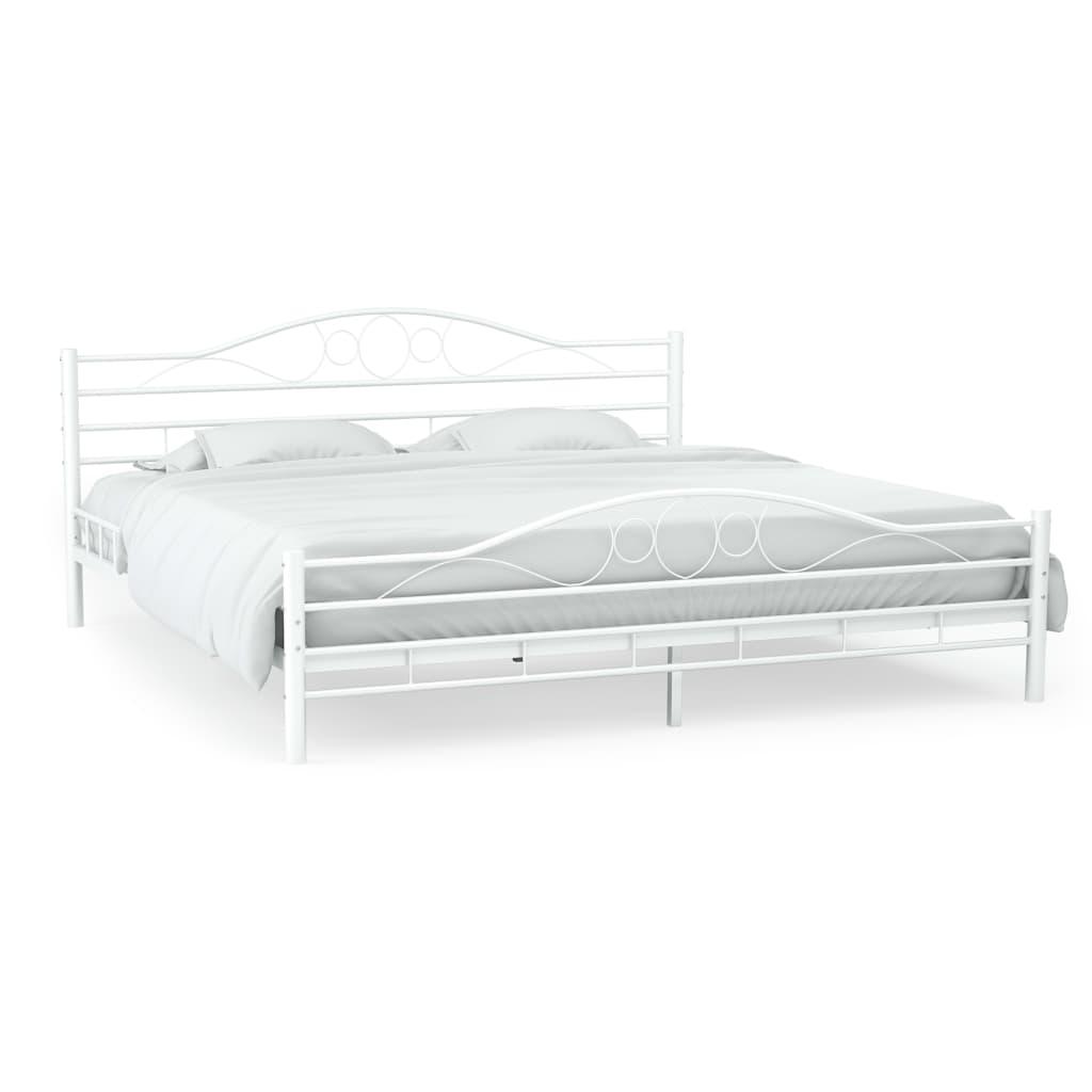 vidaXL Kovový rám postele s laťkovým roštem 140 x 200 cm zaoblený bílý