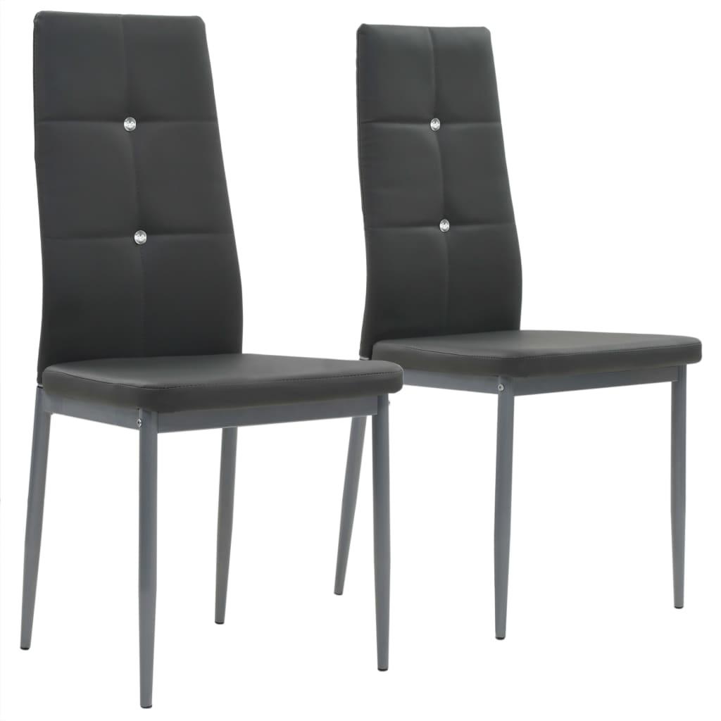 vidaXL Καρέκλες Τραπεζαρίας 2 τεμ. Γκρι 43×43,5×96 εκ. από Δερματίνη