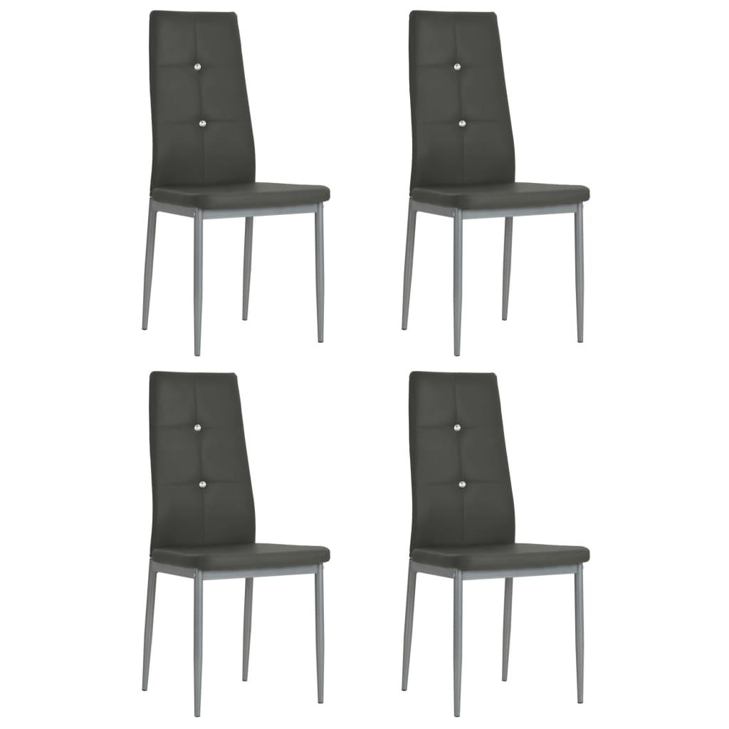 vidaXL Καρέκλες Τραπεζαρίας 4 τεμ. Γκρι 43×43,5×96 εκ. από Δερματίνη