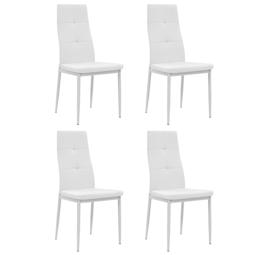 vidaXL Καρέκλες Τραπεζαρίας 4 τεμ. Λευκές 43×43,5×96 εκ. από Δερματίνη