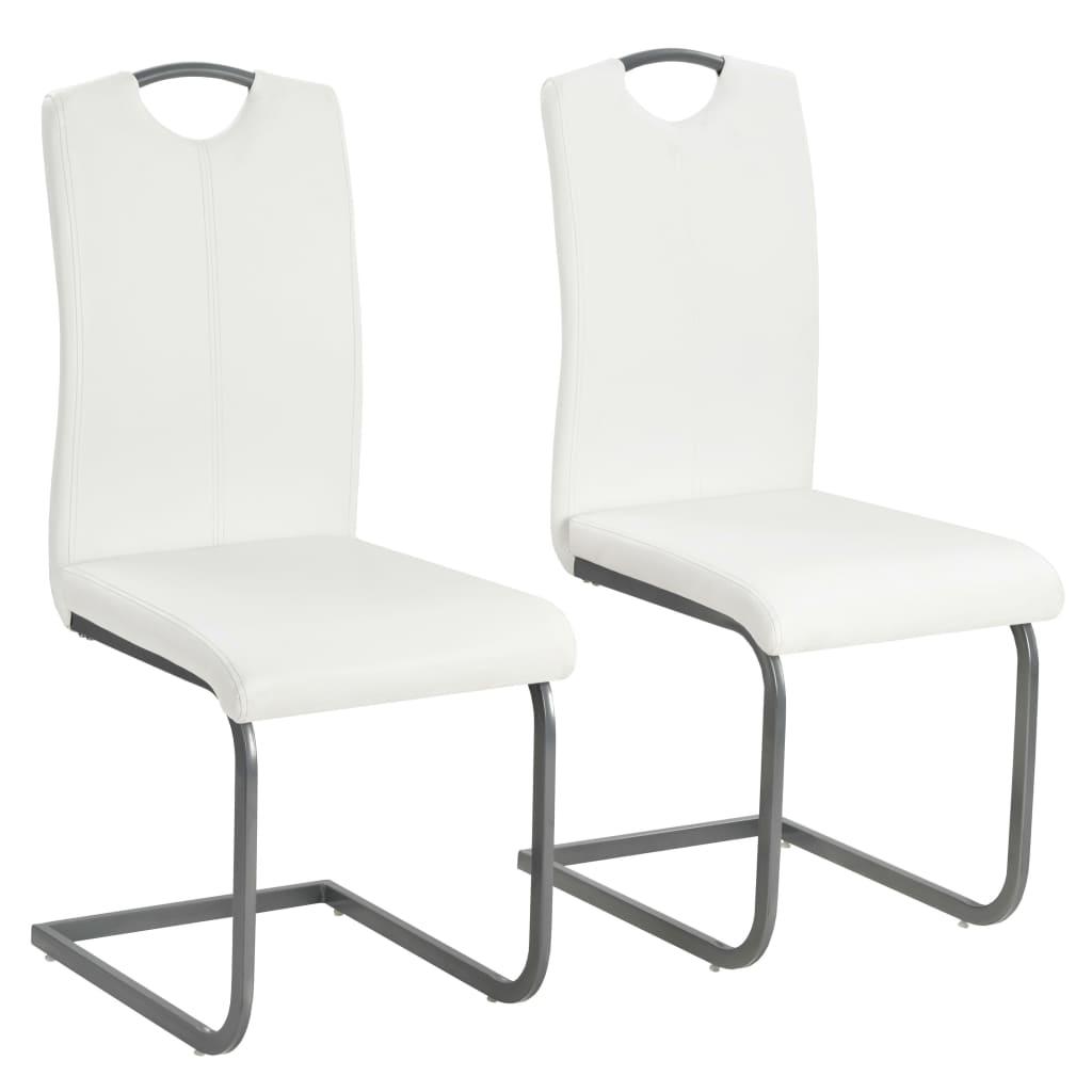 vidaXL Καρέκλες Τραπεζαρίας 2 τεμ. Λευκές 43x55x100 εκ Συνθετικό Δέρμα