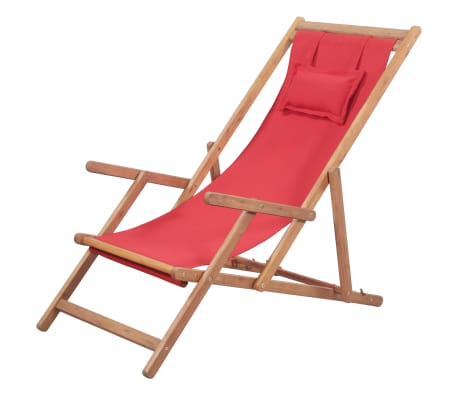 vidaXL Folding Beach Chair Fabric and Wooden Frame Red