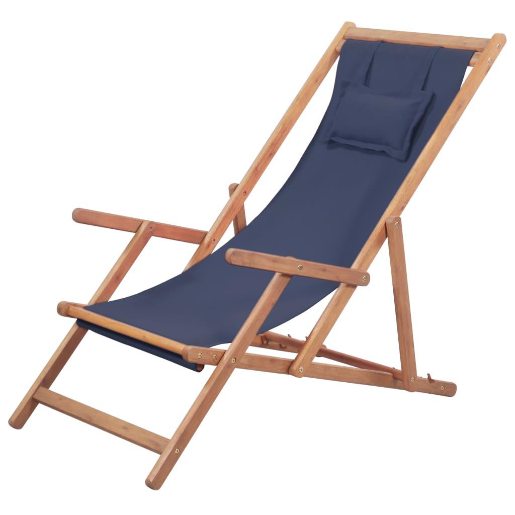 vidaXL Skládací plážové křeslo látka a dřevěný rám modré