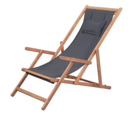 vidaXL Chaise pliable de plage Tissu et cadre en bois Gris-picture