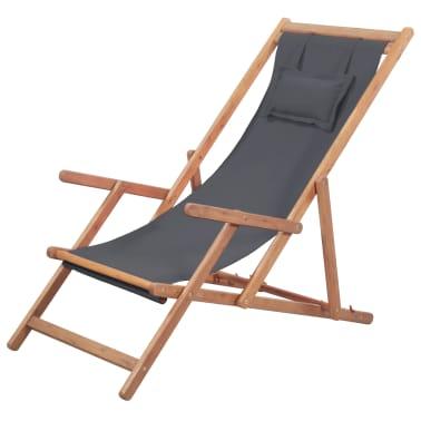 vidaXL Folding Beach Chair Fabric and Wooden Frame Gray[1/12]